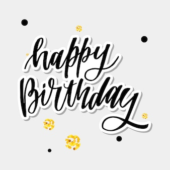 Happy birthday hand drawn  lettering  on background of pattern with stripes. perfect for greeting card.