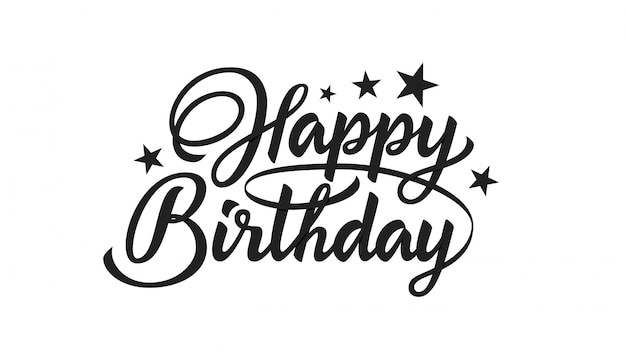 Happy birthday hand drawn lettering.
