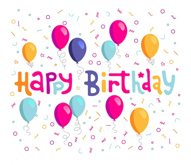 Happy birthday hand drawn vector lettering design on background