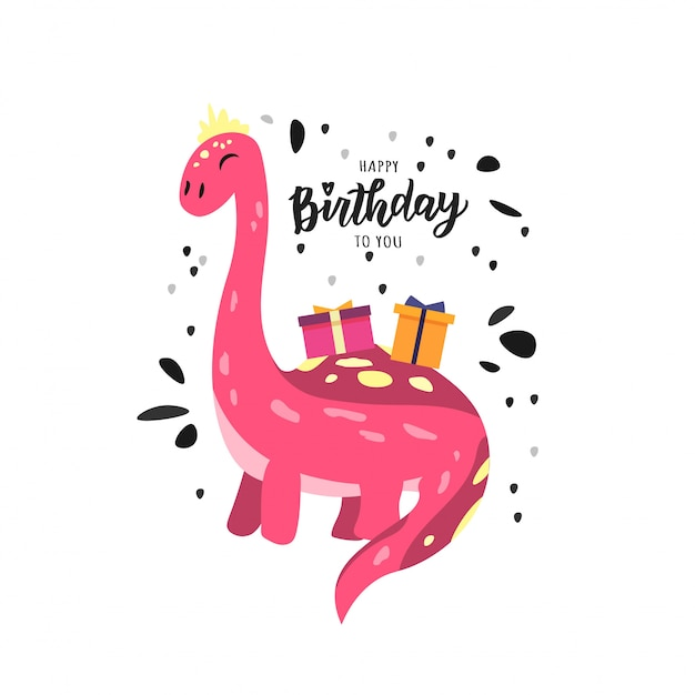 Happy birthday hand lettering text with cute dino.