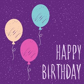 생일 축하해. 디자인 카드, 초대장, 티셔츠, 책, 배너, 포스터, 스크랩북, 앨범 등을 위한 손으로 쓴 글자와 수제 공기 풍선 커버