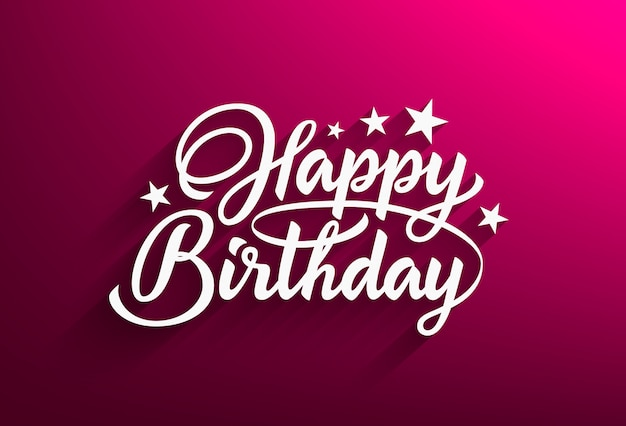 Happy birthday handwritten text in style lettering. pink background with beautiful calligraphic inscription. illustration.