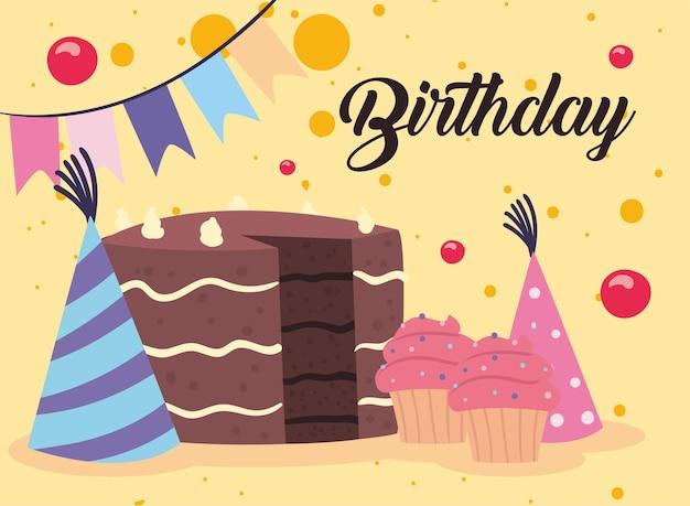 お誕生日おめでとう帽子ケーキとマフィン