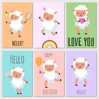 Happy birthday, hello cards with cute sheep