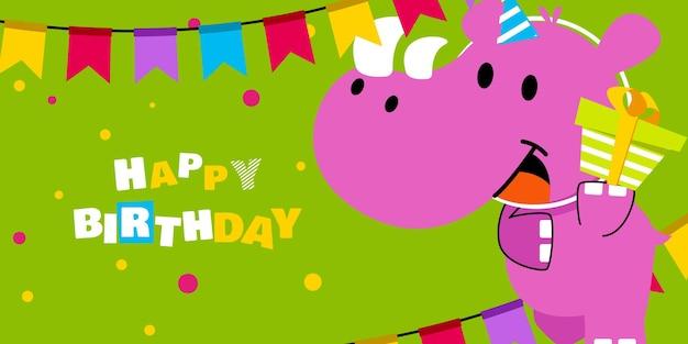 Buon compleanno, vacanze, auguri per la festa del bambino doccia e biglietto d'invito con un simpatico animale