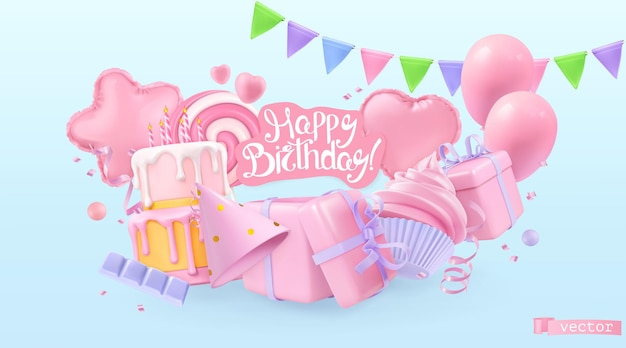 Happy birthday holiday background. 3d vector realistic objects. toy balloons, heart, star symbols, cupcake, cake, gift box