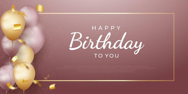 Happy birthday holiday banner with glittering golden frame with realistic balloons