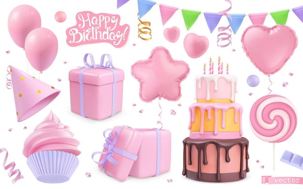 Happy birthday holiday decorations set. 3d vector realistic objects. toy balloons, heart, star symbols, cupcake, cake, gift box