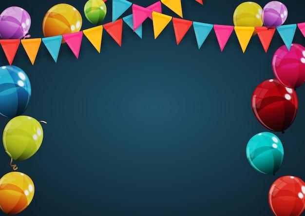 С днем рождения праздник партии фон с флагами и воздушными шарами
