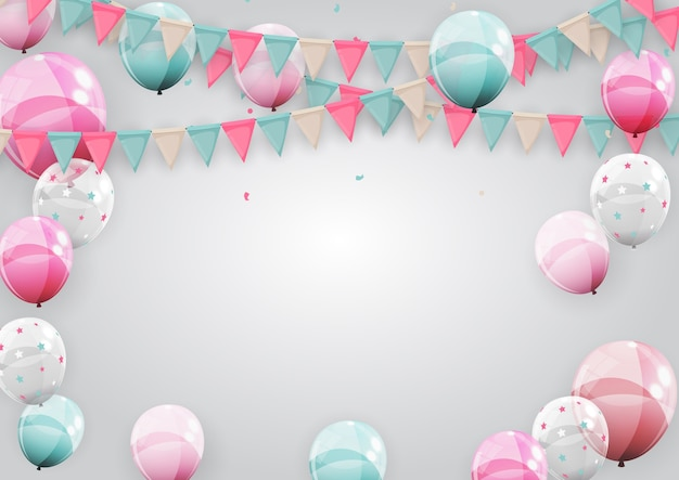 Happy birthday holiday party background with flags and balloons