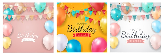 Happy birthday holiday party banner set with flags and balloons.