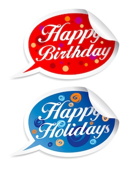 Happy birthday and holidays stickers in form of speech bubbles