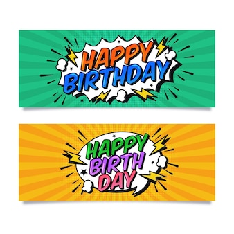 Happy birthday horizontal banners Free Vector