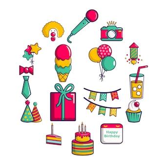 Happy birthday icon set, cartoon style