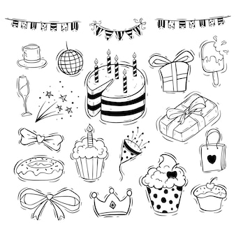 Happy birthday icons collection with cake, gift box and ribbon