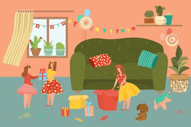 お誕生日おめでとうイラスト。ホームインテリアで誕生日を祝う女の子の双子のキャラクター、友人からの贈り物を受け取り、開梱します。パーティーのお祝いの背景の人々