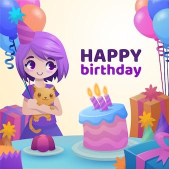 Happy birthday illustration of girlholding her cat