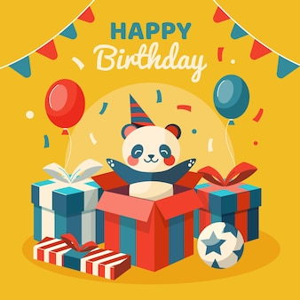 Happy birthday illustration with bear