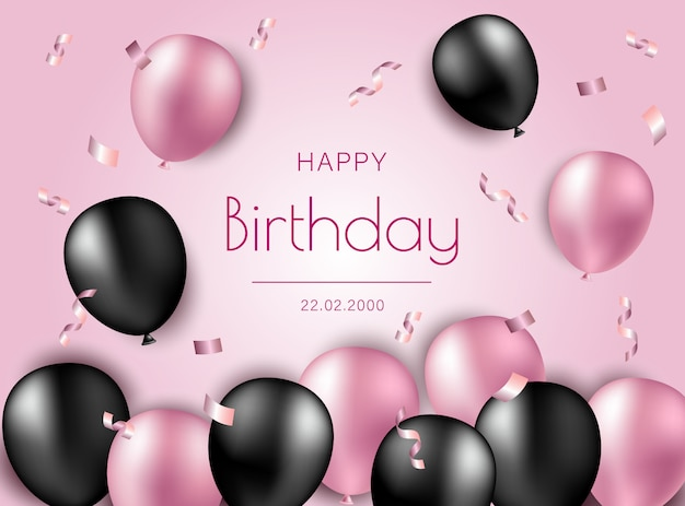 Happy birthday  illustration with black and pink air baloons and confetti