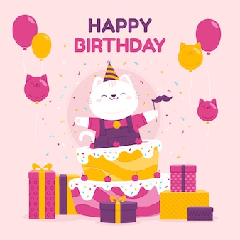 С днем рождения иллюстрация с тортом