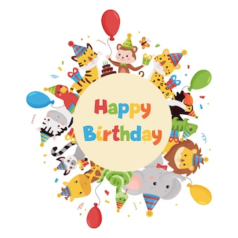Happy birthday   illustration with jungle animals, balloons, gifts