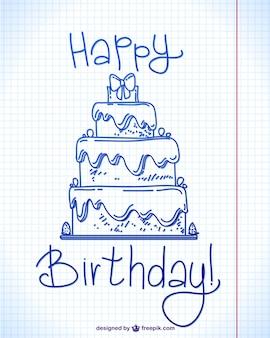 幸せな誕生日のインク落書きデザイン