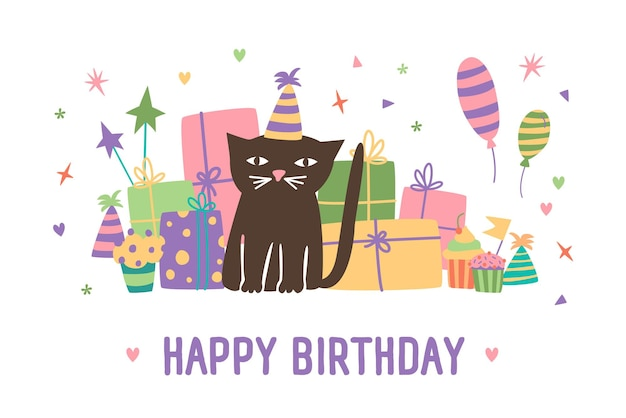 Happy birthday inscription and adorable cartoon cat in cone hat sitting against present boxes, balloons and confetti on background. festive vector illustration in flat style for greeting card.