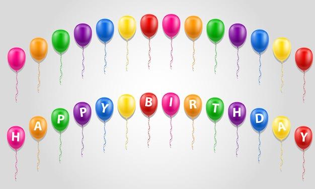 Happy birthday inscription text on balloons on white