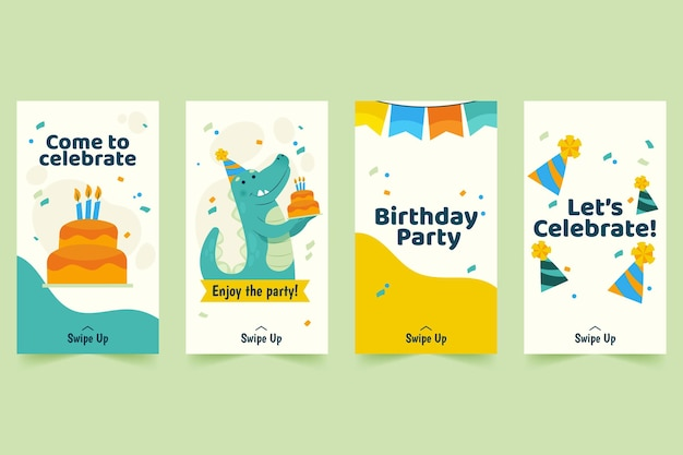 Happy birthday instagram stories template with dinosaur