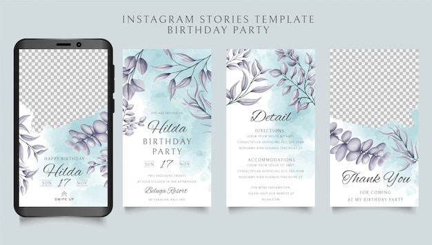 Happy birthday instagram stories template with floral background