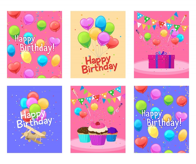 Happy birthday invitation cards set