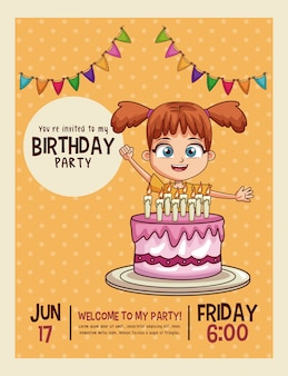 Happy birthday invitation kids card