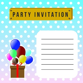 Happy birthday invitation party card template poster and balloon