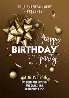 Happy birthday invitation poster template.