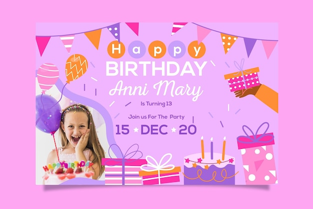 Happy birthday invitation template design