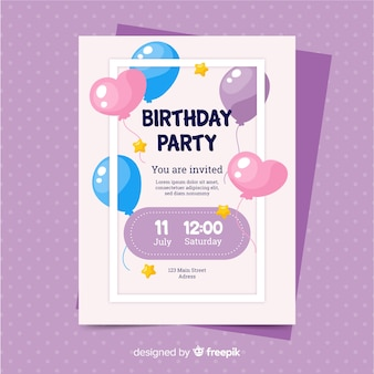 Happy birthday invitation template in flat style