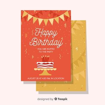 Happy birthday invitation template in flat style