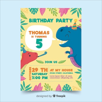 Happy birthday invitation template in hand drawn style