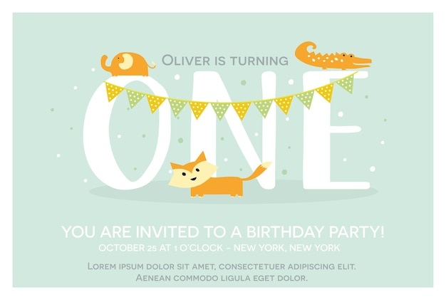 Happy birthday invitation template for one year old in vector