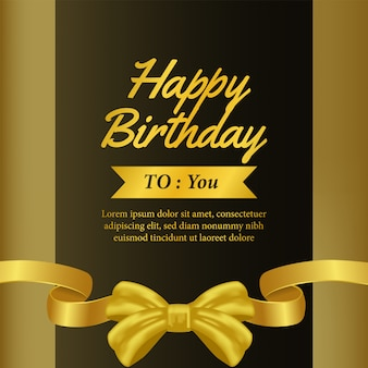 Happy birthday invitation template with gold ribbon banner
