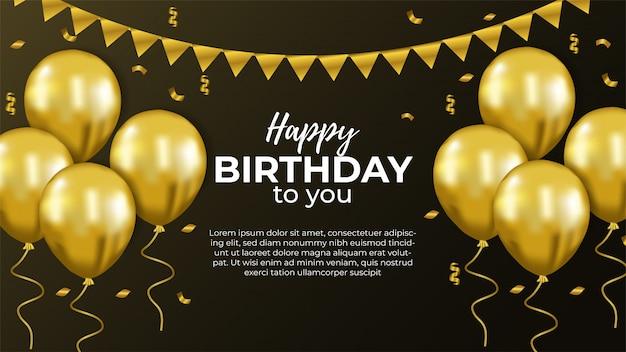 Happy birthday invitation with gold balloon
