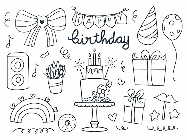 Happy birthday items set in line style