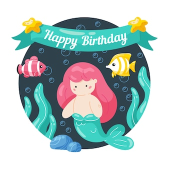 Happy birthday. kids birthday card with cute little mermaid and marine life