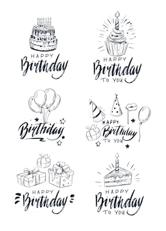 Happy birthday label. greeting lettering. set of birthday objects.