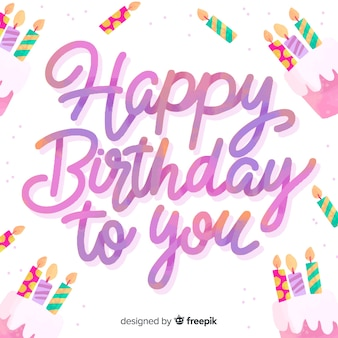 Happy birthday lettering background design