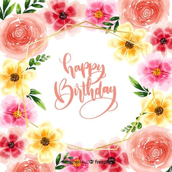 Happy birthday lettering background with flowers