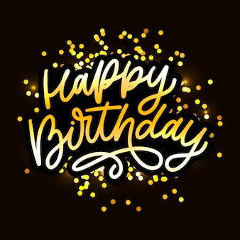 Happy birthday lettering calligraphy brush  typography text illustration