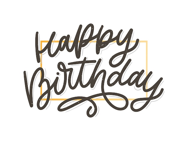 С днем рождения надписи каллиграфии кисти вектор типографии текст иллюстрации