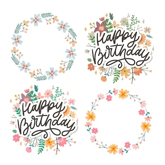 Happy birthday lettering calligraphy set