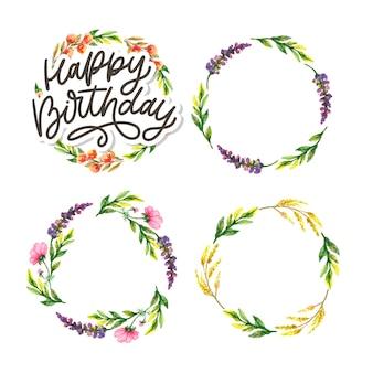 С днем рождения надписи каллиграфический слоган цветы иллюстрации текст